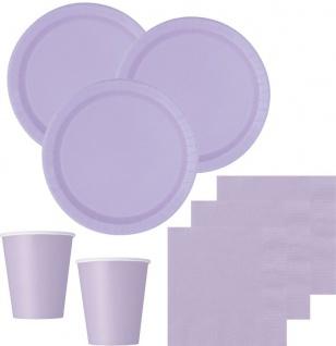 XXL 116 Teile Party Deko Set Lavendel für 16 Personen - Flieder - Vorschau 2