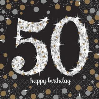 16 Servietten Glitzerndes Gold und Schwarz 50. Geburtstag