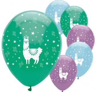 6 Luftballons bunte Lama Party