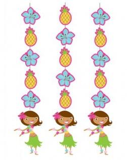 3 hängende Girlanden Hula Mädchen