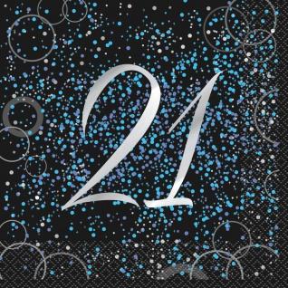 21. Geburtstag 16 Servietten in Schwarz Blau foliert