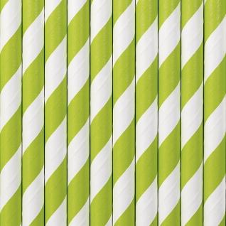 10 Papier Trinkhalme apfel grün weiß gestreift - Vorschau 1