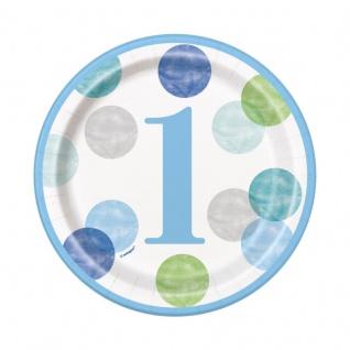8 kleine Papp Teller 1. Geburtstag Blaue Punkte