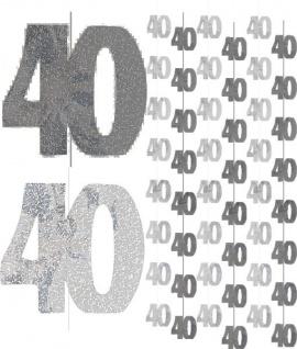 40. Geburtstag Glitzer Girlanden Schwarz