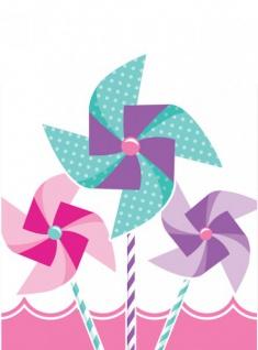 8 Party Tüten 1. Geburtstag Windrad Pink