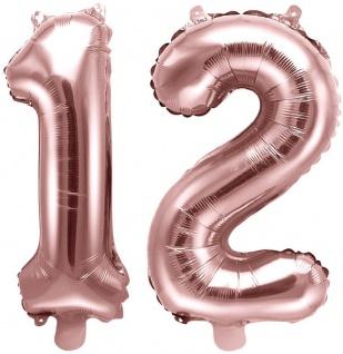 Folienballons Zahl 12 Rosegold Metallic 35 cm