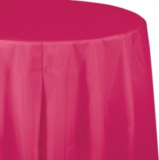 Runde Plastik Tischdecke Pink Magenta
