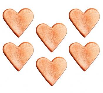 6 Zuckerfiguren Herzchen in RoseGold Glanz