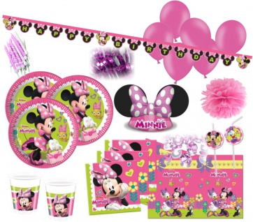 XXL 84 Teile Disney Minnie Maus Happy in Pink Party Deko Set - für 6 - 8 Kinder