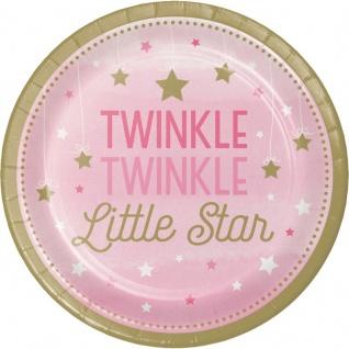 48 Teile Blinke Kleiner Stern Rosa Party Deko Set 16 Personen für die Baby Shower oder Kindergeburtstag - Vorschau 2