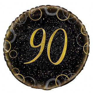 90. Geburtstag Folien Ballon Schwarz Gold