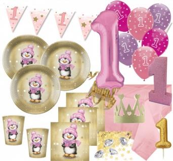 XXL 72 Teile Erster Geburtstag Deko Set Pinguin Mädchen in Rosa und Gold 16 Personen 1. Geburtstag