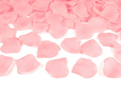 100 Rosenblätter aus Stoff in Pastell Rosa