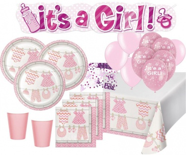 XXL 66 Teile Baby Party Rosa Babyshower Set für 16 Personen
