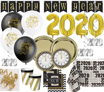 XXL 55 Teile 2020 Silvester und Neujahrs Black and Gold Happy New Year Deko Set für 8 Personen