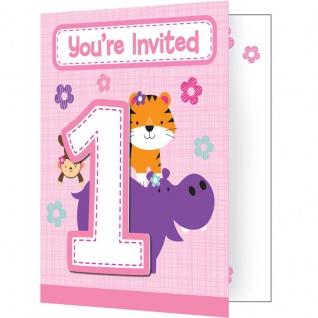 8 Einladungskarten 1. Geburtstag im Zoo Rosa