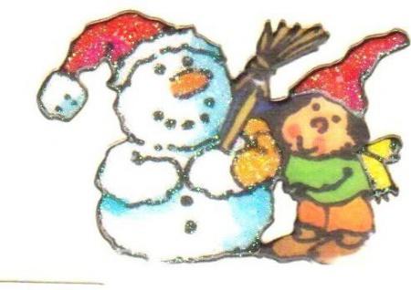 Schneemann mit Wichtel Mini Sticker - ItSticks