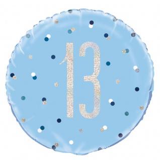Folien Ballon Blue Dots Glitzer zum 13. Geburtstag