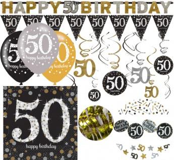 XL 38 Teile zum 50. Geburtstag Gold Glitzer für 16 Personen