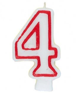 Zahlenkerze in weiß mit rot 4 - Vorschau