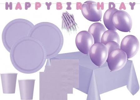 XXL 116 Teile Party Deko Set Lavendel für 16 Personen - Flieder