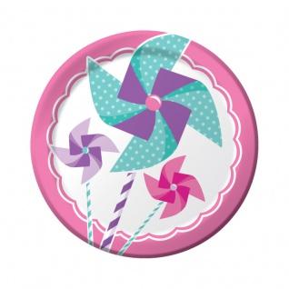 8 kleine Teller 1. Geburtstag Windrad Pink