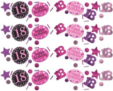 Deko Konfetti 18. Geburtstag in Pink Glitzer
