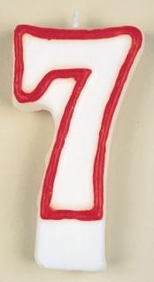 Zahlenkerze in weiß mit rot 7