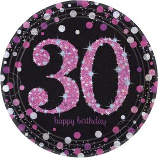 8 Teller Glitzerndes Pink und Schwarz 30. Geburtstag