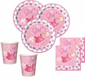 48 Teile Baby Shower Deko Set Wäscheleine Rosa für 16 Personen