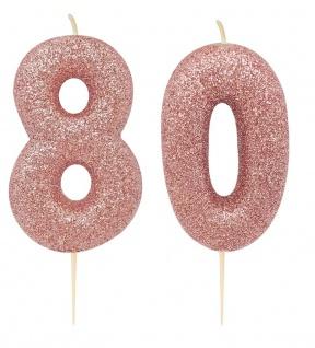 Kuchen Kerze 80. Geburtstag Rosegold Glitzer