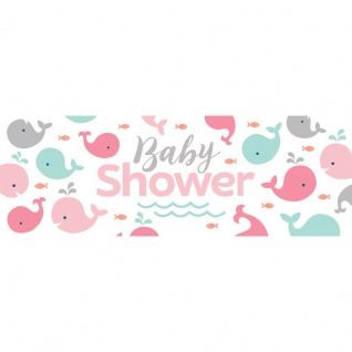 XXL Banner Happy Baby Wal Party Pink Babyshower