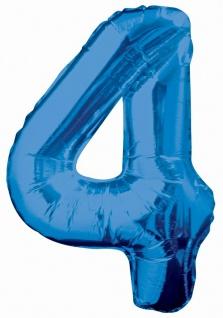 XXL Folien Ballon in Form der Zahl 4 Blau 86 cm
