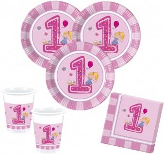 52 Teile Erster Geburtstag Mädchen Rosa Party Deko Set 16 Personen