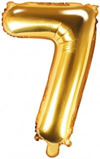 Folienballon Zahl 7 Gold Metallic 35 cm