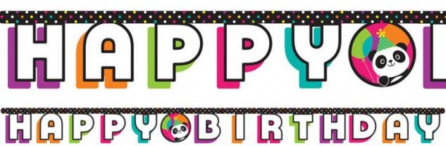 Geburtstags Girlande Pink Panda Bär