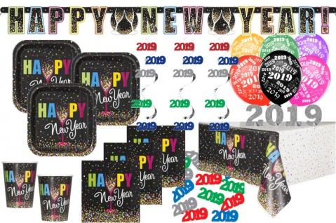 XXL 2019 Silvester Happy New Year Confetti Deko Set 8 Personen