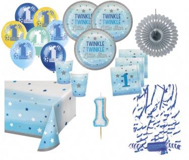 XXL 52 Teile Erster Geburtstag Blinke Kleiner Stern Blau Party Deko Set 8 Personen