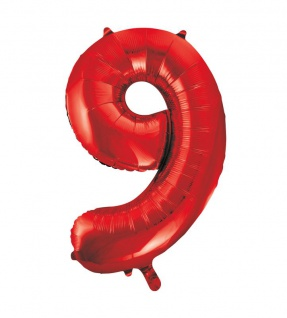 XXL Folien Ballon in Form der Zahl 9 Rot 86 cm