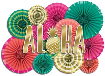 XXL Wand Dekorations Set Aloha in Pink und Gold