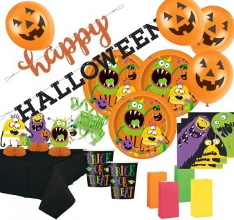 XXL 54 Teile Halloween Deko Set kleine Monster für 8 Personen