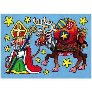 Fensterbild Weihnachtsmann mit Rentier