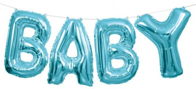 XXL DIY Baby Buchstaben Ballon Girlande in Pastell Blau 2, 74 Meter lang