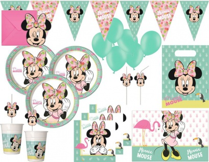 XXL 66 Teile Disney Minnie Maus Tropical Party Deko Set für 6 Kinder