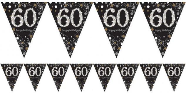 Wimpel Girlande Glitzerndes Gold und Silber 60. Geburtstag