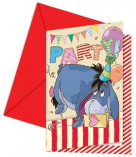 6 Winnie Puuh Party Einladungskarten