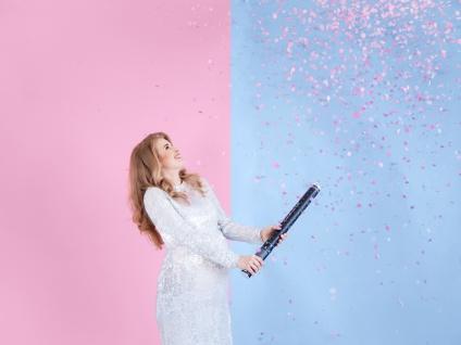 Konfetti Kanone Babyshower - Es ist ein Mädchen! Rosa Punkte 60 cm - Vorschau 3