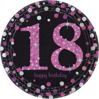 8 Teller Glitzerndes Pink und Schwarz 18. Geburtstag