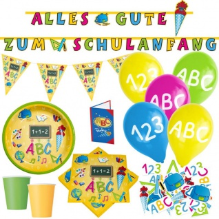 XL 86 Teile Party Deko Set Schulanfang für 16 Personen