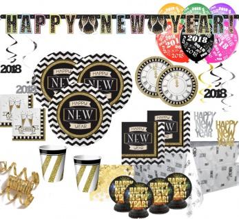 XXL 78 Teile 2018 Silvester und Neujahrs Party Deko Set 8 Personen - Black and Gold